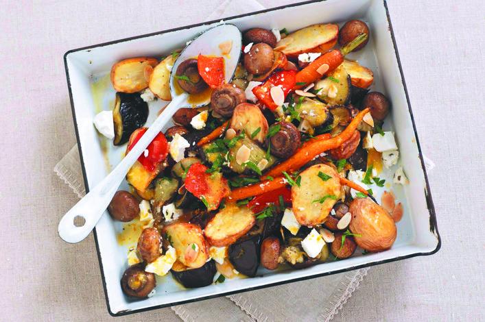 Roasted mushrooms and vegetable