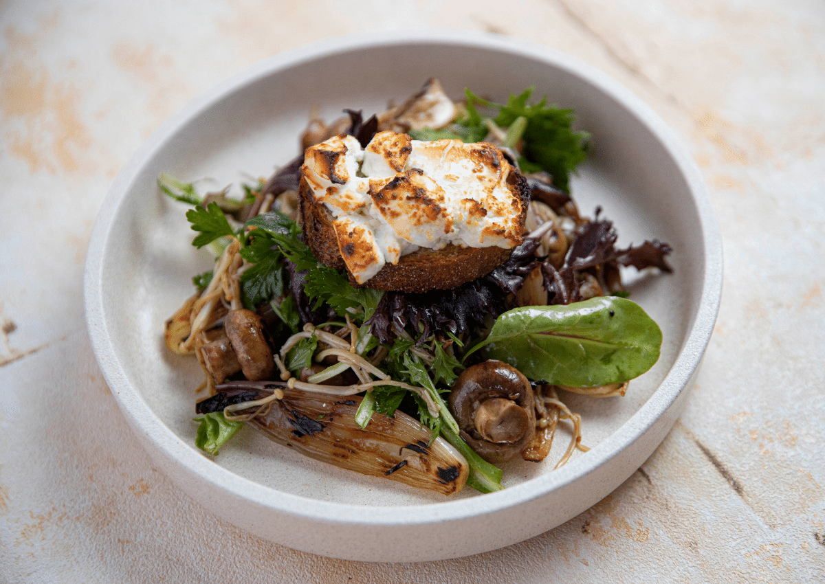Mushroom Salad with Goat's Cheese Crouton
