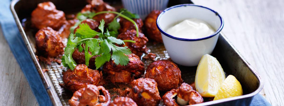 Tandoori roasted mushroom cups recipe