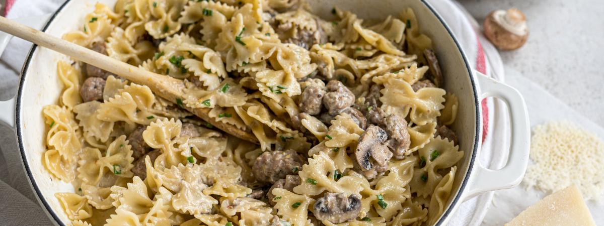 Creamy Mushroom & Pork Bow Ties with Parmesan Crisps