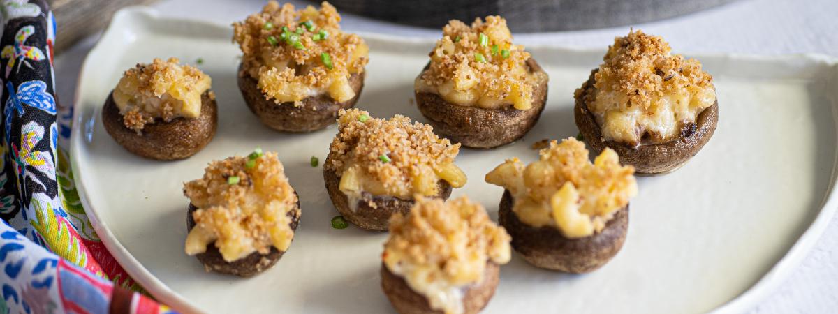 Mac and Cheese Stuffed Mushrooms